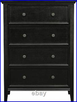 Used Chest of drawers 4 drawer dresser black wood Storage Cabinet Living Room