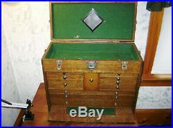 VINTAGE H GERSTNER & SONS Model 052 OAK WOOD MACHINIST TOOL BOX CHEST 11 DRAWERS