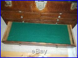 VINTAGE WOOD MACHINIST TOOL BOX CHEST 7 DRAWERS H Gerstner & Sons
