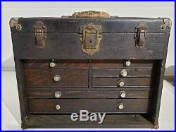 VTG H. Gerstner & Sons Dayton OH W41C Wood Machinist 7 Drawer Tool Box Chest Key