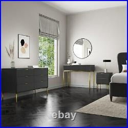 Valencia Dark Grey Gloss Wide 6 Drawer Chest of Drawers