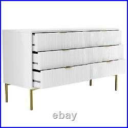 Valencia White Gloss Wide 6 Drawer Chest of Drawers