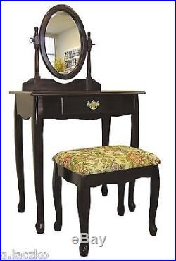 Vanity Antique Mirror Dresser Vintage Table Set Deco Wood Chest Drawer Cherry By