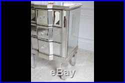 Venetian 3 Drawer Mirrored Bedside Chest Small Side End Lamp Phone Table Unit