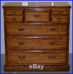 Very Large Maple & Co Solid Light Walnut Chest Of Drawers Vr Stamped Locks