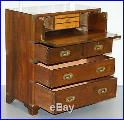 Victorian Military Campaign Chest Of Drawers Built In Secrataire Drop Front Desk