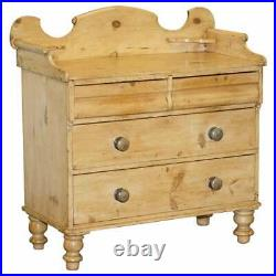 Victorian Pine Chest Of Drawers Wash Stand With Gallery Back Stunning Patina