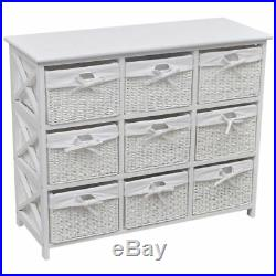 VidaXL Storage Cabinet White 9 Drawer Woven Baskets Home Office Side Chest