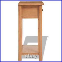 VidaXL Tall Bedside Side Console Table Nightstand Solid Oak Drawer Chest Shelf