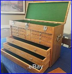 Vintage 10 Drawer Oak Wood Machinist Artist Tool Box Chest