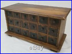 Vintage 18 drawer apothecary spice cabinet wooden chest primitive rustic