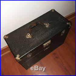 Vintage 1940's H. Gerstner & Sons Machinist 7 Drawer Tool Box Chest Wood Leather