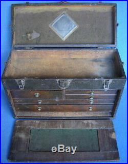 Vintage 7 Drawer Machinist Chestmechanic Tool Boxantique Wood Toolbox