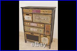 Vintage 8 Drawer Chest Rustic Filing Cabinet Storage Cupboard Colourful Unit New