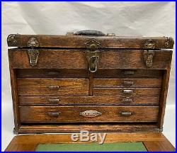 Vintage Antique CRAFTSMAN 7 Drawer Machinist Oak Wood Tool Box Chest (A65)