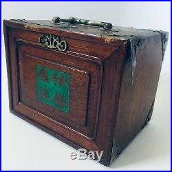 Vintage (Antique) Chinese Mahjong Set 5 Drawer Wood Storage Chest Complete