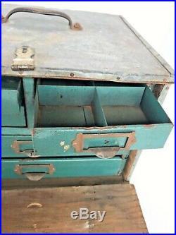 Vintage Antique Steel Metal Wood Drawer Storage Tool Chest Industrial