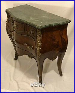 Vintage Antique Style Louis XV Bombay Chest of Drawers Dresser Marble Top Inlaid