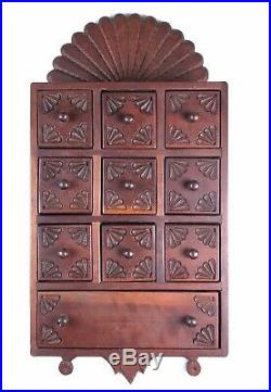 Vintage Antique Wood Spice Cabinet Cupboard Apothecary 10 Drawer Chest