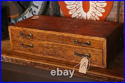 Vintage Antique Wood Tool Box Chest 2 Drawer map cabinet drafting jewelry box