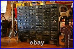Vintage Apothecary Cabinet 54 Drawer Black Wood Cubby vintage storage chest box