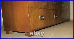 Vintage Baker Campaign Style Dresser, 7 Drawer Low Chest, Rare Model