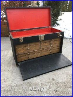 Vintage Baker Case 7 Drawer Machinist Chest Leatherette Wood Toolbox Case