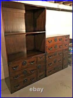 Vintage Baker Modern Asian Tansu Chest, Drawers Cabinets Stained Oak- 4 pieces