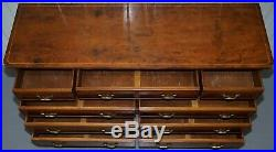 Vintage Bevan Funnell Burr Yew Wood Large Sideboard Sized Bank Chest Of Drawers