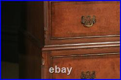 Vintage English Queen Anne Style Burr Walnut & Mahogany Tallboy Chest of Drawers