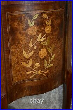 Vintage French Marble Top Inlaid Two Drawer Chest withBrass Ormolu