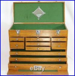Vintage Gerstner Oak 10-Drawer Machinist Tool Chest Box Toolbox Model #530