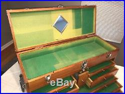 Vintage H Gerstner & Sons Model W52 Wood Machinist Tool Box / Chest / 10 Drawers