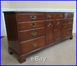 Vintage Henkel Harris Solid Cherry Dresser, 9 Drawer Low Chest, Cabinet Fin 24