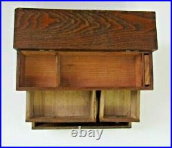 Vintage Japanese Beautiful Zelkova Wood 3 Drawer Haribako Sewing Tansu Chest