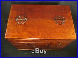 Vintage Japanese Zelkova Wood 7 Drawer Haribako Sewing Tansu Chest Secret Dra