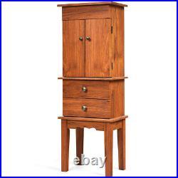 Vintage Jewelry Armoire Cabinet Chest Big Storage Box Organizer withDrawers&Mirror