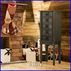 Vintage Jewelry Armoire Cabinet Chest Big Storage Box Organizer with Drawers Gray