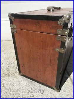 Vintage Machinist Tool Box Wood with Metal Clad 7 Drawers Tool Chest