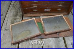 Vintage Machinist Wood Tool Chest Box Craftsman 7 Drawer Antique Hand Tools