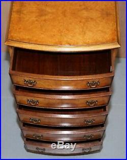 Vintage Medium Sized Burr Walnut Tallboy Chest Of Drawers Bevan Funnell England
