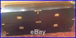 Vintage Mid Century Hollywood Regency Black Campaign 4 Drawer Low Dresser/Chest