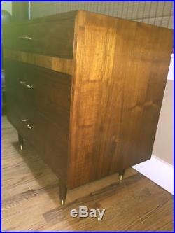 Vintage Mid Century Modern Danish Style Walnut 3 Drawer Low Chest Dresser