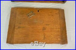 Vintage Moore and Wright Wooden 7 Drawer Tool Cabinet / Chest / Box with keys