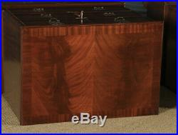Vintage Near-Pair Queen Anne Style Flame Mahogany Burr Walnut Chests of Drawers