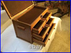 Vintage Oak Wood/Brass 5-Drawer Machinist Tool Cabinet Chest-Excellent Condition