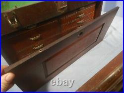Vintage Oak Wood Machinist 7 Drawer Chest Tool Box (no key) antique estate find