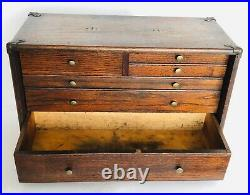 Vintage Oak Wood Machinist Pilliod Chest, Tool Box 6 Drawers Brass Trim & Nobs