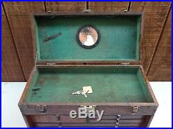 Vintage Oak Wood Tool / Machinists Chest Cabinet 7 Drawer w Key