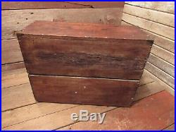 Vintage Old Antique 9 drawer Oak Wood-Brass Machinist Tool Box Chest